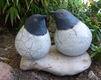 Birds, raku ceramic