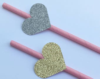 12 Glitter Heart Party Straws Gold Heart Straws Silver Heart Straws Baby Shower Straws Bridal Shower Straws Wedding Straws Pink Straws