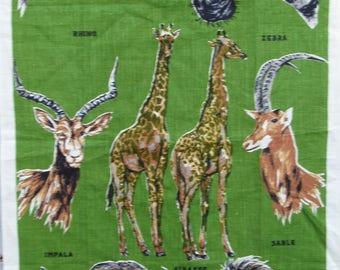 Vintage Kitchen Towel, African Safari Animals Vintage Tea Towel, Zoo Animals Tourist Travel Kitchen Hand Towel, Dish Drying Towel gift