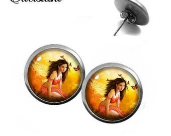 Earrings stainless steel cabochon jewelry fairy with BUTTERFLIES fairytale