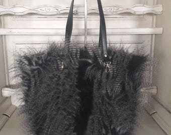 Wolf feather effect tote bag
