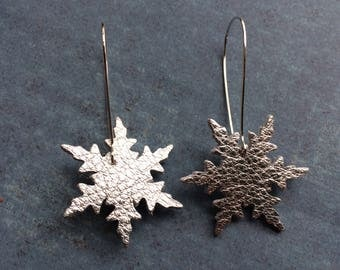 Leather snowflakes, silver snowflake earrings, winter earrings
