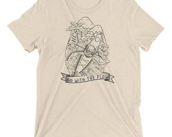 Kayaking Cat - Go with the Flow, Lineart, Unisex Casual T-shirt