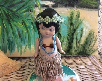 Altered Antique Bisque Side Glancing Doll Reinvented into Hawaiian Hula Wahine, One of a Kind Art