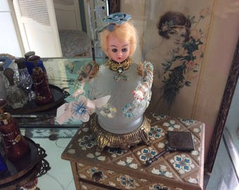 "Altered Victorian Ball Doll Art,  All Antique and Vintage Assemblage, 7"" Tall, 3.5"" Wide"