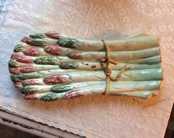 Antique Italian Majolica Hand Painted Asparagus Serving Plate, Marker and Numbered