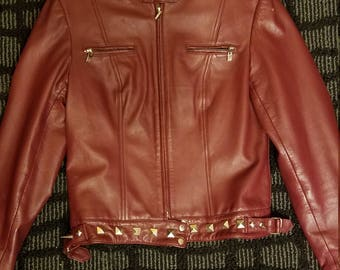 Red 100% leather stud spike jacket