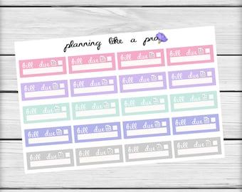 Bill Due Stickers // Multicolor Planner Stickers