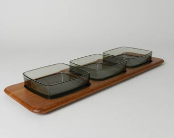 Teak serving set with green glass inserts.  By Digsmed, Denmark, 1960s.