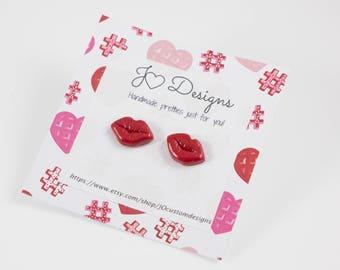 Lip Studs, Pink Lip Studs, Red Lip Studs, Valentines Studs, Red Lip Earrings, Pink Lip Earrings, Kiss Earrings, Valentines Earrings