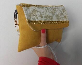 Dress handkerchief shoulder strap, an evening, Christmas(New Year's) Eve, handbag women mustard and gilt, style retro, original present.