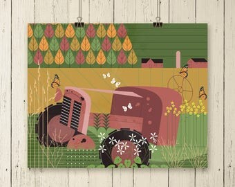 Farm tractor art, farm tractor print, farm scene art, farm scene print, farm scene artwork, farm scene art print,home wall art,apartment art