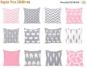 SALE ENDS SOON Throw Pillow Covers, Pink Pillows, Gray Cushion Covers, Pink Nursery Pillows, Chevron, Arrows, Whales, Baby Pillows, Pink and