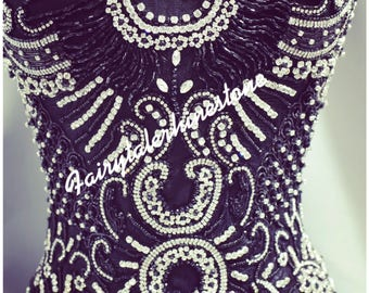 Stunning large bridal beaded appliqué/ wedding gown appliqué