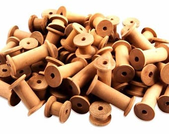 Wooden Cotton Reels assorted sizes 60 Spools