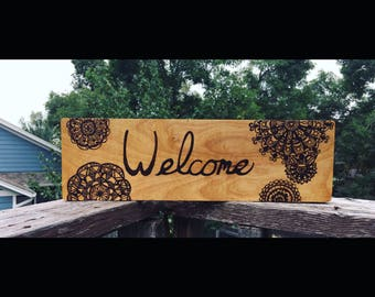 Welcome Mandala Pyrography Sign