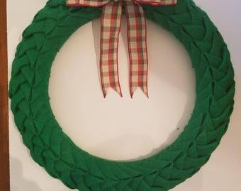 Green Burlap Petal Wreath