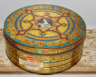"Hostess Fruit Cake Holiday Tin,decorative round tin,Continental Baking Co,10"" cookie tin,large storage tin,ornate cookie tin,gold,red,blue"