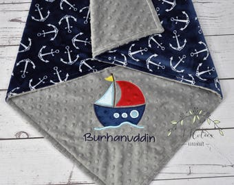 Personalized Minky Baby Blanket-SailBoat baby blanket-Personalized Anchor Minky blanket-Minky Nautical Blanket-Sail boat Boy baby blanket