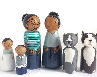 Custom Family 6(2 Adults+4 kids/pets) / Peg Dolls / Peg Doll / Wooden dolls for Dollhouse / Custom Family / Quiet time toys / custom gift