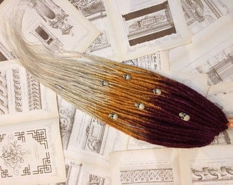 READY to SHIP full set single ended crochet synthetic dreads. Burgundy to orange to blonde. synthetic SE dreadlocks - 70 pieces. 28 inches