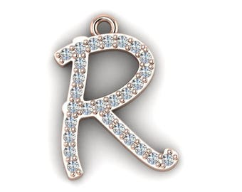 "Initial ""R"" Pendant with 16-inch Length Cable Chain"