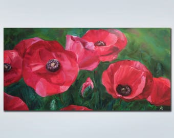 Original oil painting Red poppies Canvas art Landscape Colorful painting Flower  Large Painting