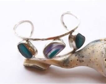 Purple, peacock blue, english multi sea glass cuff bracelet