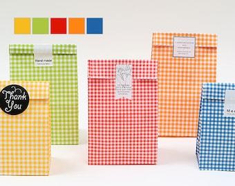 10 Color checker paper bags, party favor paper bag, color lunch bag, gift bag, cute gift bag, checker pattern, party favor bag, party gift