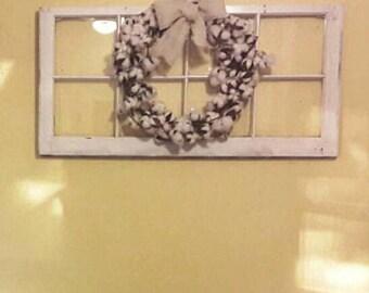 ON SALE 6 pane window - wood window pane - wreath hanger window - vintage wood window pane - wood window for wedding - window for mantel