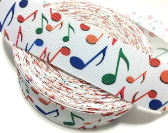 Grosgrain Ribbon Music Notes Musical Notes Music Ribbon Music Print Ribbon