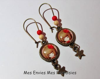 ღ girl earrings / fashion red and Beige Bronze ღ