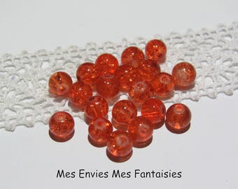 20 6mm Orange cracked glass beads