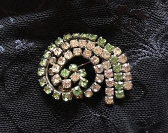 Mid century green and white rhinestone brooch