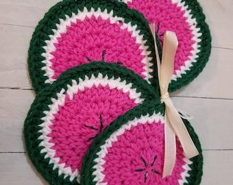 Crochet Watermelon Coasters, Crochet Home Decor, Drinkware, Pink Coaster, Kitchen Decor, House Warming Gift, Summer Decor, Watermelon Lover