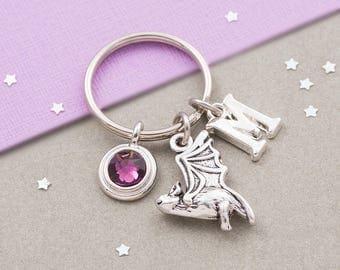 Bat keychain, bat keyring, personalized keyring, custom keychain, birthstone keyring, initial keychain, gothic keychain, halloween gift