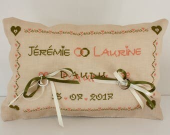 Rustic hand embroidered pillow