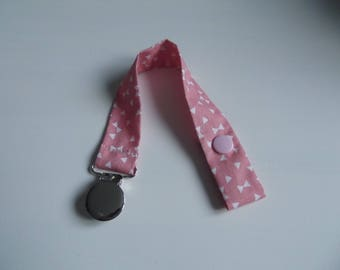 Powder Pink fabric pacifier clip metal round