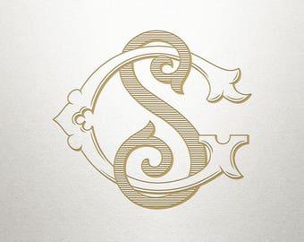 Vintage Wedding Monogram - GS SG - Wedding Monogram - Digital