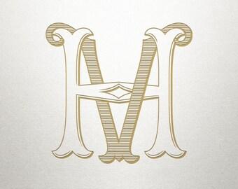 Custom Vintage Initials - HV VH - Vintage Initials - Digital