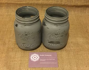 Anthracite Distressed Mason Jars