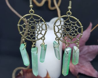 Green Crystal Dreamcatcher dream catcher - rock crystal - Native American - navajo - sioux - Bohemian - Gypsy - hippie earrings