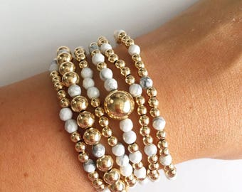 Howlite Gold Stackable Bracelets