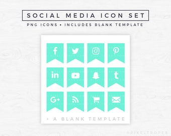 Social Media Icons // Ribbon Icons, Blog Graphics, Icon Pack, Social Media Clipart, Blogger Graphics, Mint Green Icons [Instant Download]