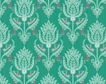 Sale Primavera Damask in Teal Cotton Fabric by Patty Young for Riley Blake