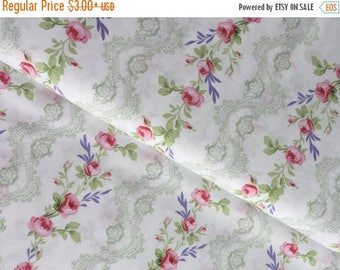 Sale White Rose Stripe Cotton Fabric from the Fidelia Collection by Clothworks