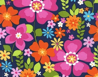 Sale Rain Flowertopia Cotton Fabric from the Flowertopia Collection by Michael Miller Fabrics