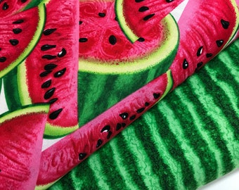 Bundle of 2 Fabrics from the Fresh Fruit Collection from Timeless Treasures, Watermelon, Watermelon Rind, Summer Fabric