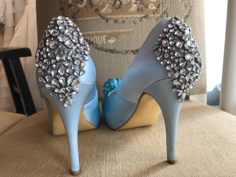 9/ Wedding Shoes / Light Blue Wedding Bridal Shoes / Open Toe