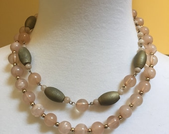 Tan and Olive Green  Beaded Choker 16""